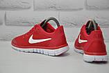 Червоні легкі дихаючі кросівки сітка в стилі Nike Free Run 3.0, фото 4