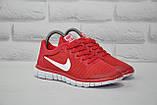 Червоні легкі дихаючі кросівки сітка в стилі Nike Free Run 3.0, фото 5
