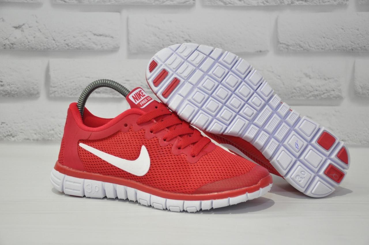 Червоні легкі дихаючі кросівки сітка в стилі Nike Free Run 3.0