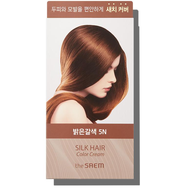Крем-краска для волос The Saem Silk Hair Color Cream Gray Hair Cover Light Brown 60 г+60 г (8806164149911)
