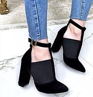 Туфлі жіночі чорні з гумкою на підборах 10 см натуральна замша ботильйони Mante Rio замшеві