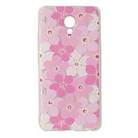 Чехол для Meizu M5 Note Diamond силиконовый с рисунком розовые цветы