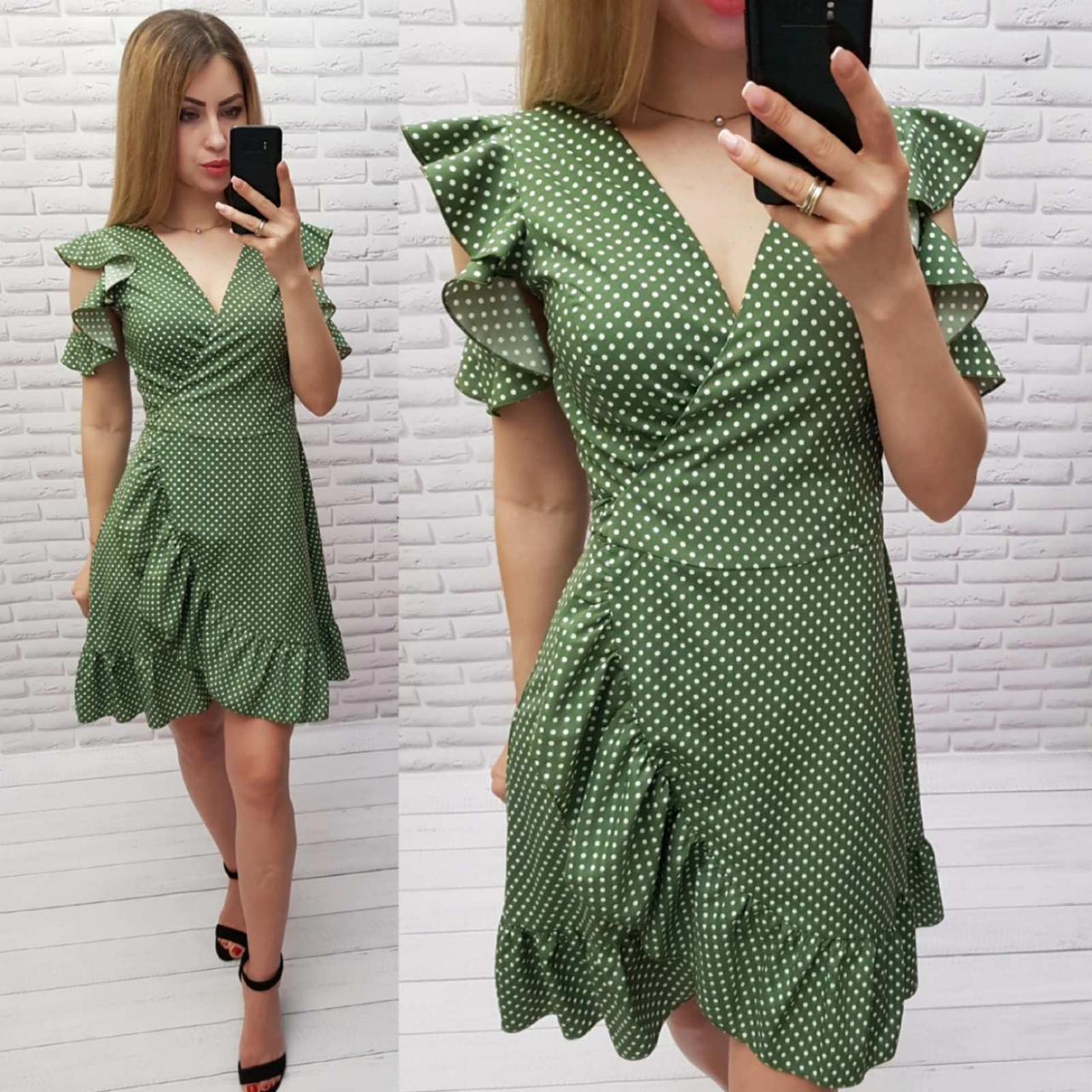 Платье на запах с рюшами в горох зеленое, 193