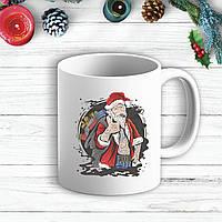 Белая кружка (чашка) с новогодним принтом Дед Мороз с сигарой и тату 2