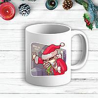 Белая кружка (чашка) с новогодним принтом Деда Мороза тошнит