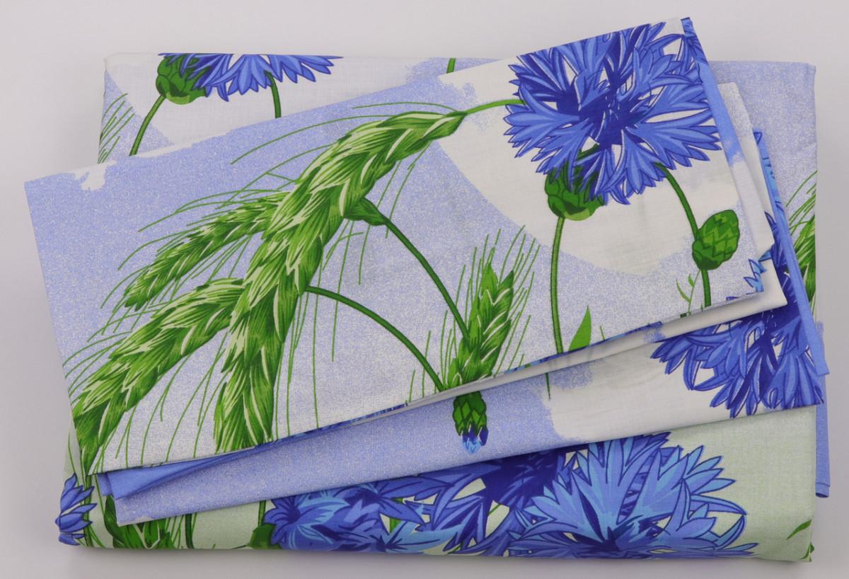 Комплект постельного белья Хлопок 100 Gold Двуспальный от украинского производителя Синий 5013