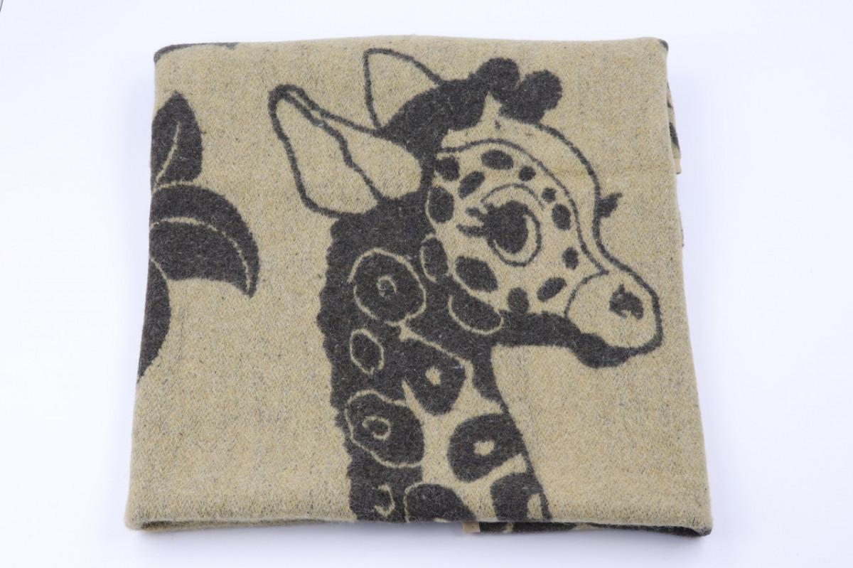 Одеяло жаккардовое детское полушерстяное Vladi Жираф (Влади) Коричневый 100х140 Шерсть 70 (3102)