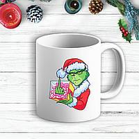 Белая кружка (чашка) с  новогодним принтом Гринч (The Grinch) Подарок F*CK