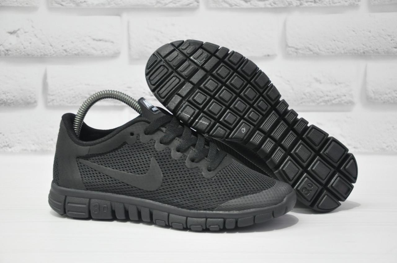 Кросівки чорні жіночі, підліткові в стилі Nike Free Run 3.0