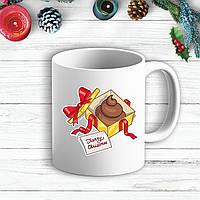 """Белая кружка (чашка) с новогодним принтом Подарок """"Merry Cristmas"""""""