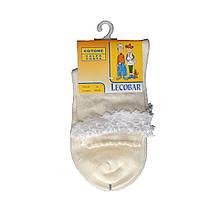 Белые детские носки для девочки 100 хлопок красивые нарядные с кружевом LECOBAR Италия 26-29 (4-7 лет)