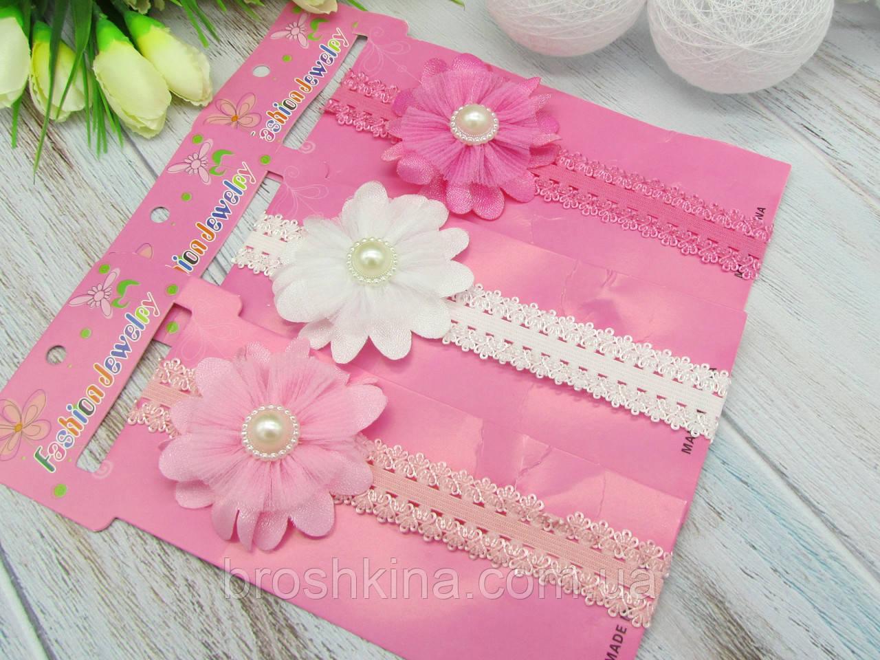 Детские ажурные повязочки с цветочками 12 шт/уп.