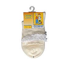 Белые детские носки для девочки 100 хлопок нарядные с кружевом LECOBAR Италия 30-33 (6-9 лет) Молочный