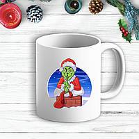 Белая кружка (чашка) с новогодним принтом Гринч (The Grinch) в дымоходе