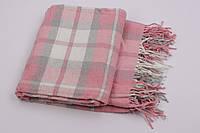 Шерстяной плед Vladi Лондон (Влади) Розовый 140х200 Хлопок 20 Шерсть 10 (3061), фото 1