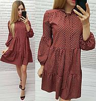 Платье свободного кроя с рюшами в горох бордо, 194