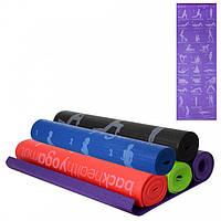 Фитнес коврик для йоги и спорта 4 мм с рисунком, йога мат из ПВХ