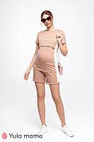Трикотажный костюм шорты и футболка для беременных и кормящих р. 42-50 ТМ Юла Мама  JANEL ST-20.021