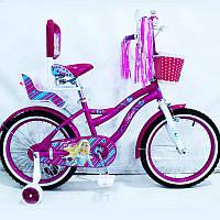 """Яркий велосипед Flora 18"""" для девочки 5-8 лет с корзинкой и спинкой"""