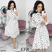 Женское стильное платье миди в горох 3 цвета, фото 1