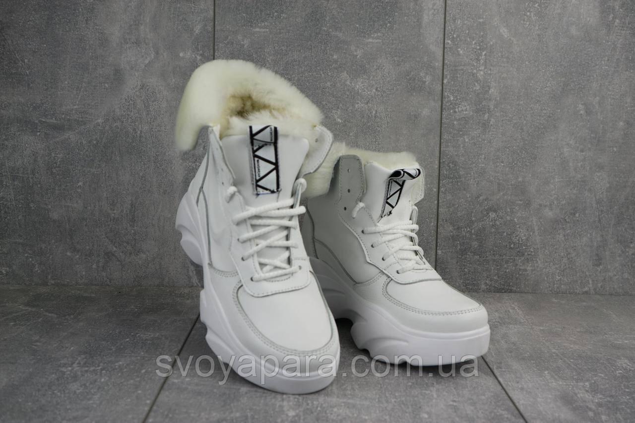 Женские ботинки кожаные зимние белые Best Vak БЖ 52-06
