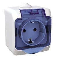 Розетка Schneider-Electric Cedar Plus с заземлением и з/шторками IP44 16А белый, WDE000543