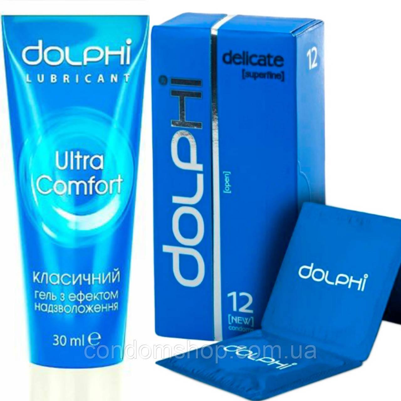"""Набор Dolphi luxe ,,Нежное прикосновение"""":презервативы Dolphi Delicate супер тонкие + гель-смазка классическая"""
