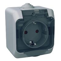 Розетка Schneider-Electric Cedar Plus с заземлением и з/шторками IP44 16А серый, WDE000643