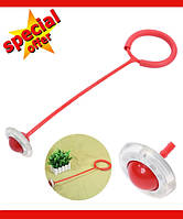 Нейроскакалка, скакалка на одну ногу, светящаяся крутилка с колесиком. Красная
