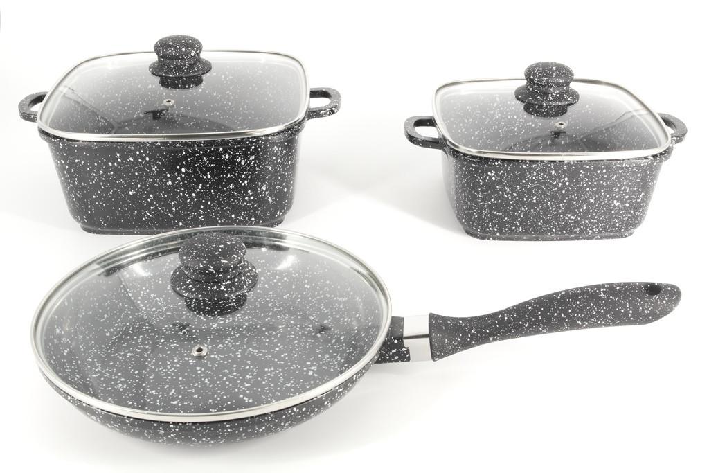 Набор посуды с мраморным покрытием, 6 предметов A-Plus 1505