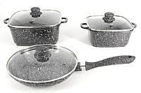 Набор посуды с мраморным покрытием, 6 предметов A-Plus 1505, фото 1