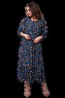 Платье для полных женщин свободное синее D60S-3