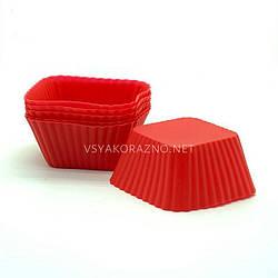 """Силиконовая форма для выпечки кексов """"Франсуа"""" - набор (6 шт.) красные / Силіконова форма для випічки кексів"""