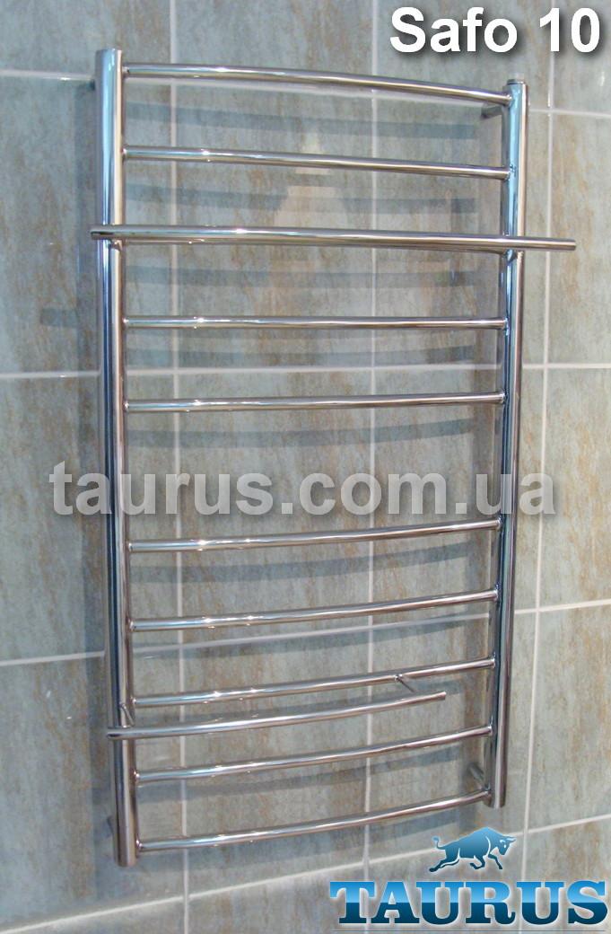 Узкий нержавеющий полированный полотенцесушитель Safo 10/ 900х400 мм. с полочками 2шт. d16мм