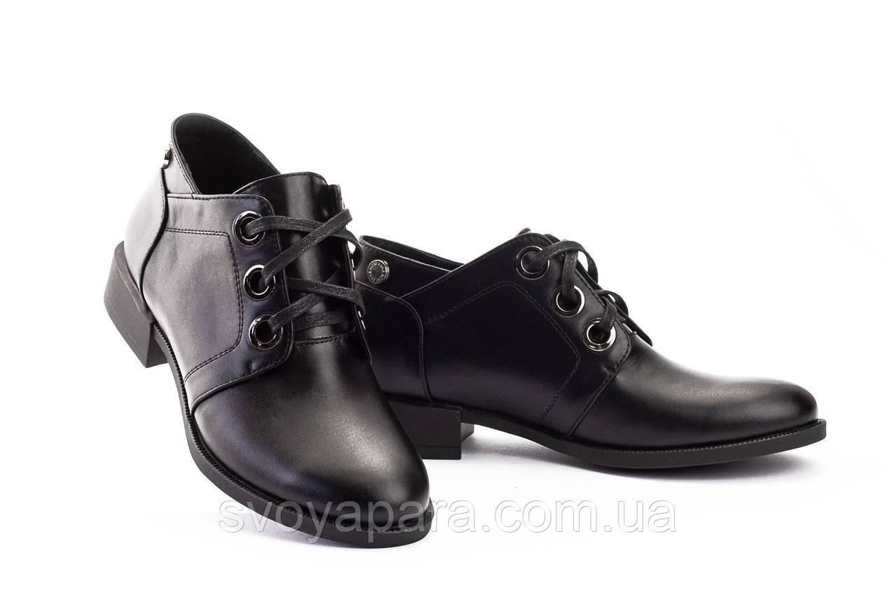 Женские туфли кожаные весна/осень черные-матовые DARINI 215