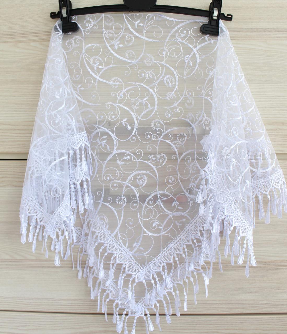 Платок белый свадебный церковный ажурный 230015
