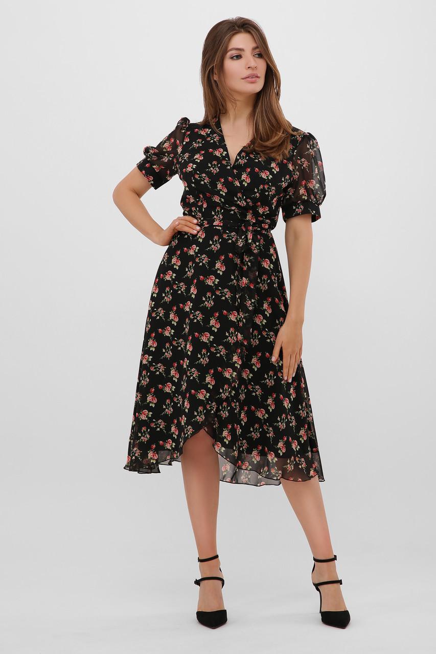 Шифоновое платье в цветочек с короткими рукавами Алеста