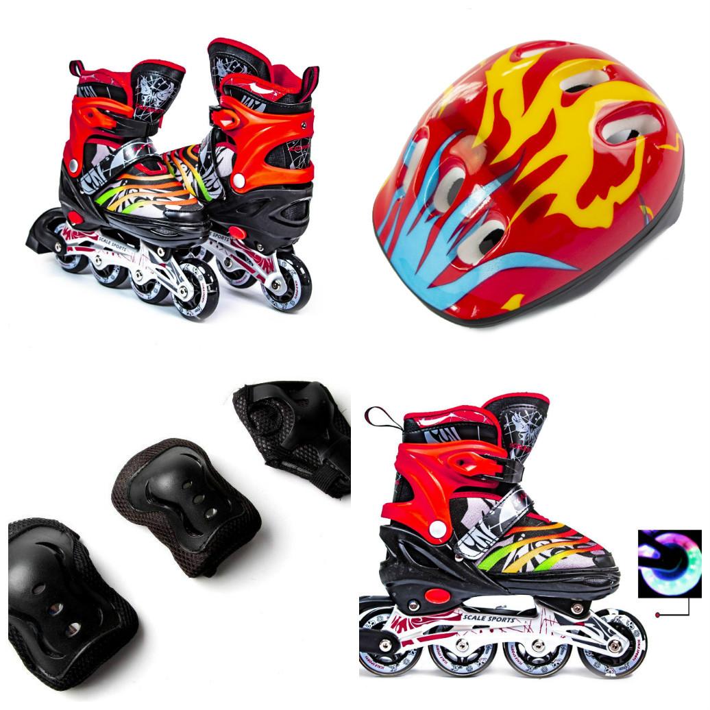 Комплект LF Scale Sport (ролики, защита, детский шлем), черно-красный, S (29-33), M (34-37), L (38-41)