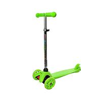Детский трехколесный самокат, колеса светятся, для детей от 3 до 8 (зеленый)