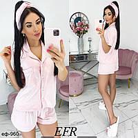 Модный женский домашний пижамный комплект с шортами и рубашкой, фото 1