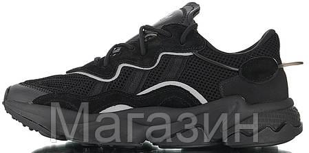 Мужские кроссовки adidas Ozweego Black (Адидас Озвиго) черные, фото 2