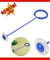 Нейроскакалка, скакалка на одну ногу, светящаяся крутилка с колесиком. Синяя