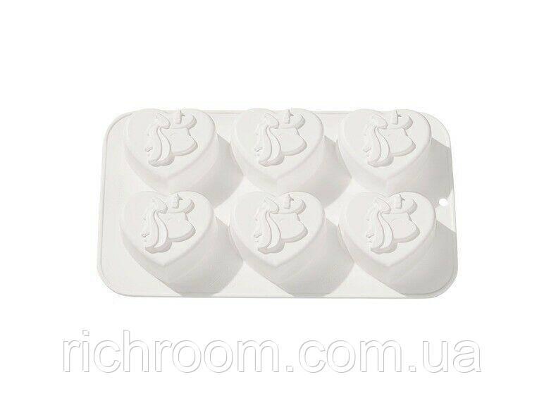 """F1-00885, Форма силиконовая для кексов и печенья """"Единорог"""" ERNESTO, 6 шт., , белый"""