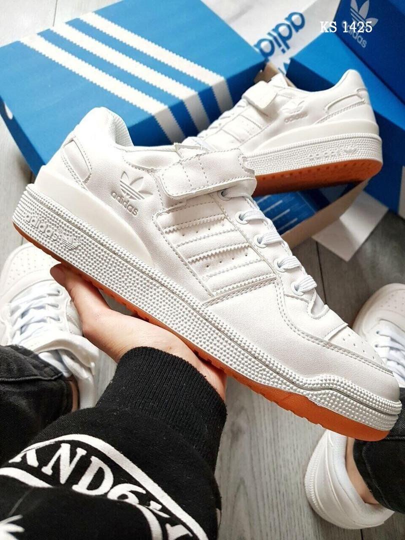 Чоловічі кросівки Adidas Forum Mid білі / кеди Адідас (Топ репліка ААА+)