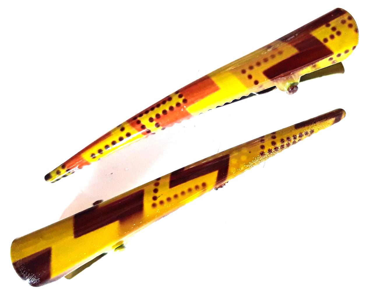 Заколка для волос стрела 8 см металл 2 шт желтые