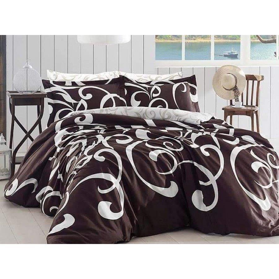Полуторное постельное белье Бязь Gold - Вензель роскошный на коричневом