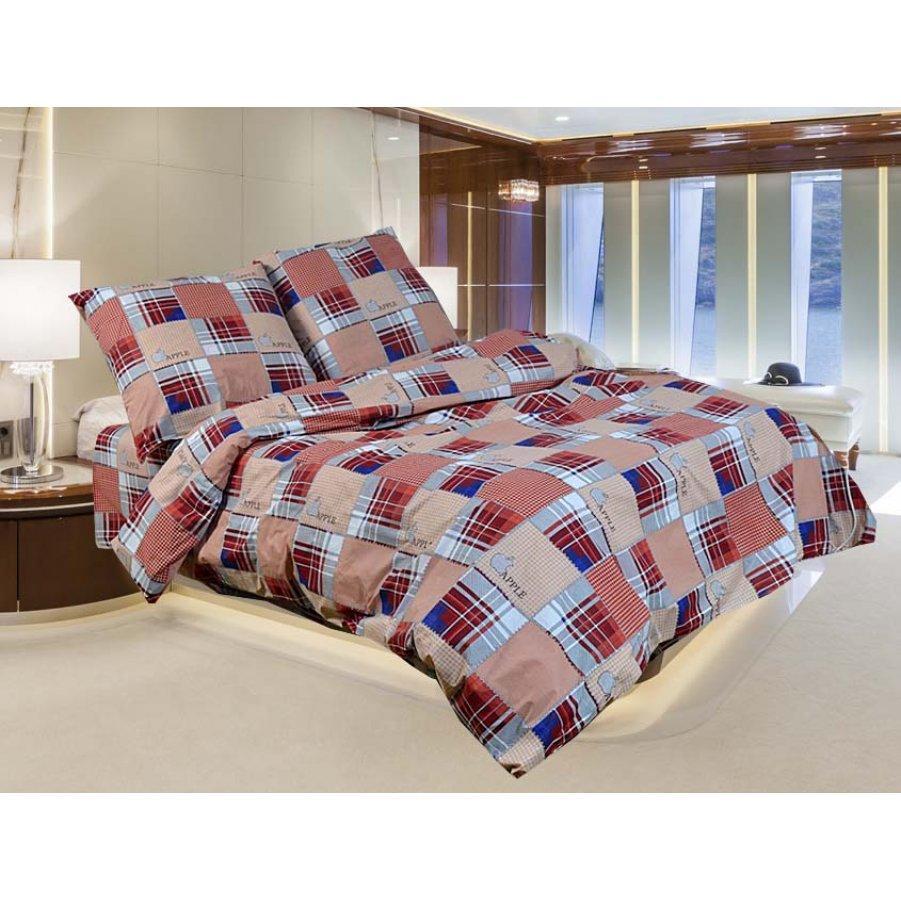 Полуторное постельное белье Бязь Gold - Епл шотландка коричневая