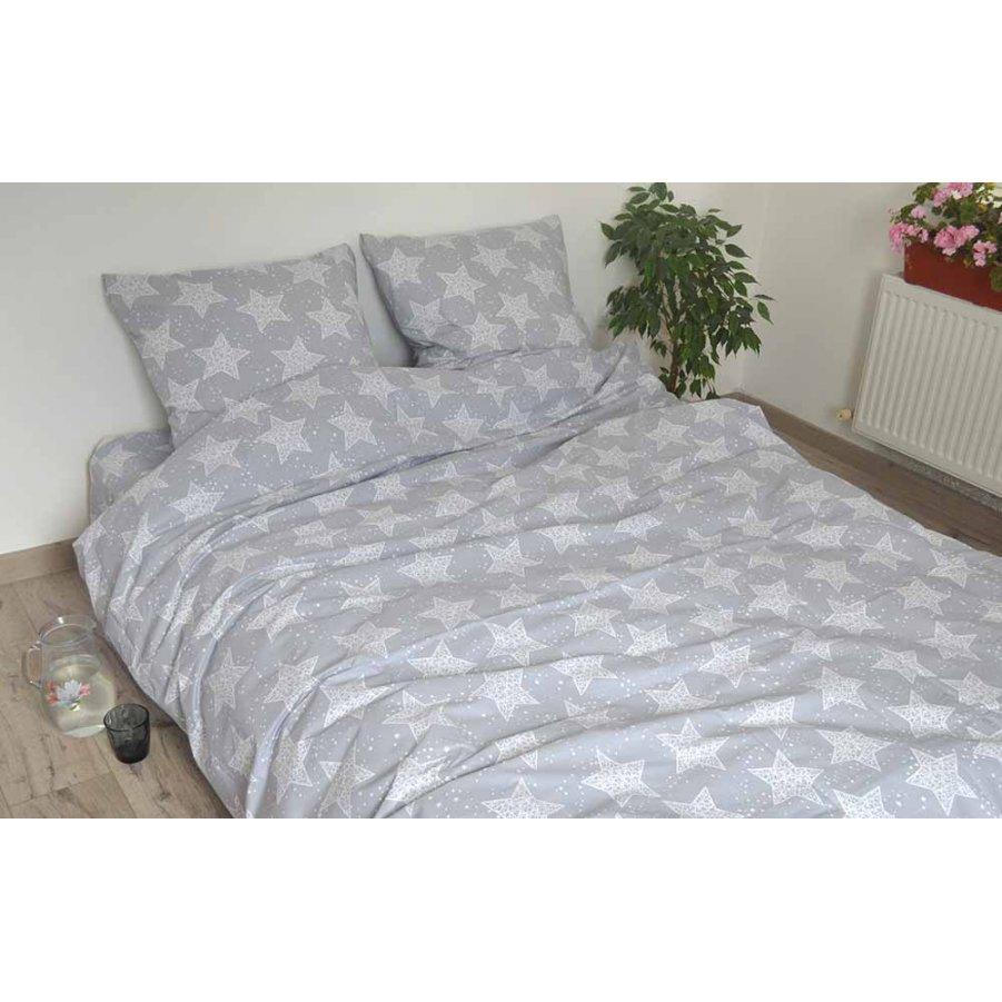 Полуторное постельное белье Бязь Gold - Большие звезды на светло-сером