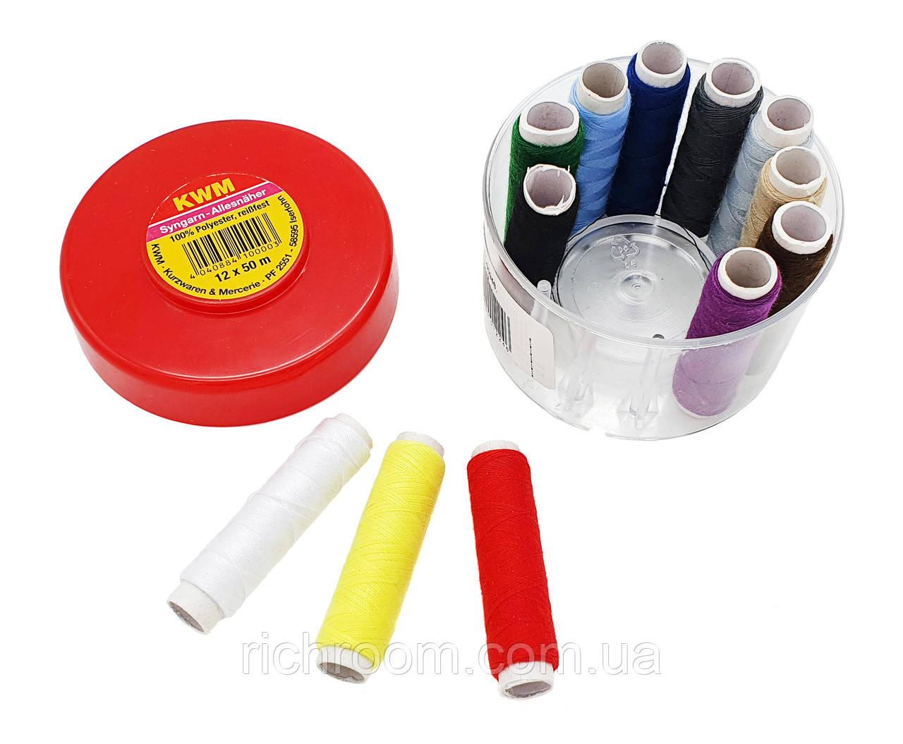 F1-00946, Набор ниток для шитья 12 шт. разных цветов по 50 м в коробке KWM