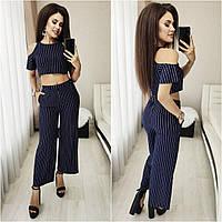 Жіночий літній костюм 022/2-13 (42 44 46) кольори: т. синій, jeans) СП, фото 1